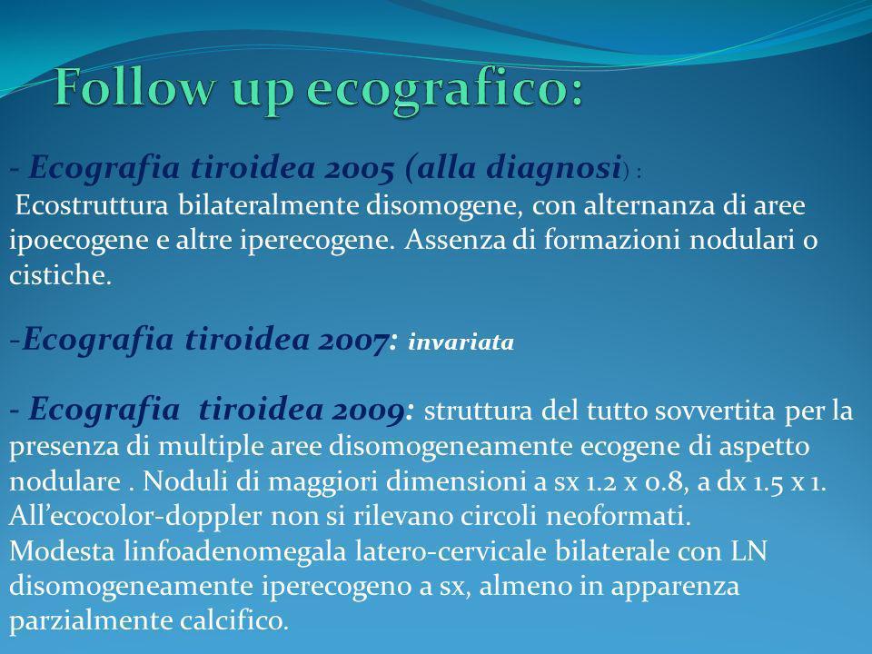 - Ecografia tiroidea 2005 (alla diagnosi ) : Ecostruttura bilateralmente disomogene, con alternanza di aree ipoecogene e altre iperecogene. Assenza di