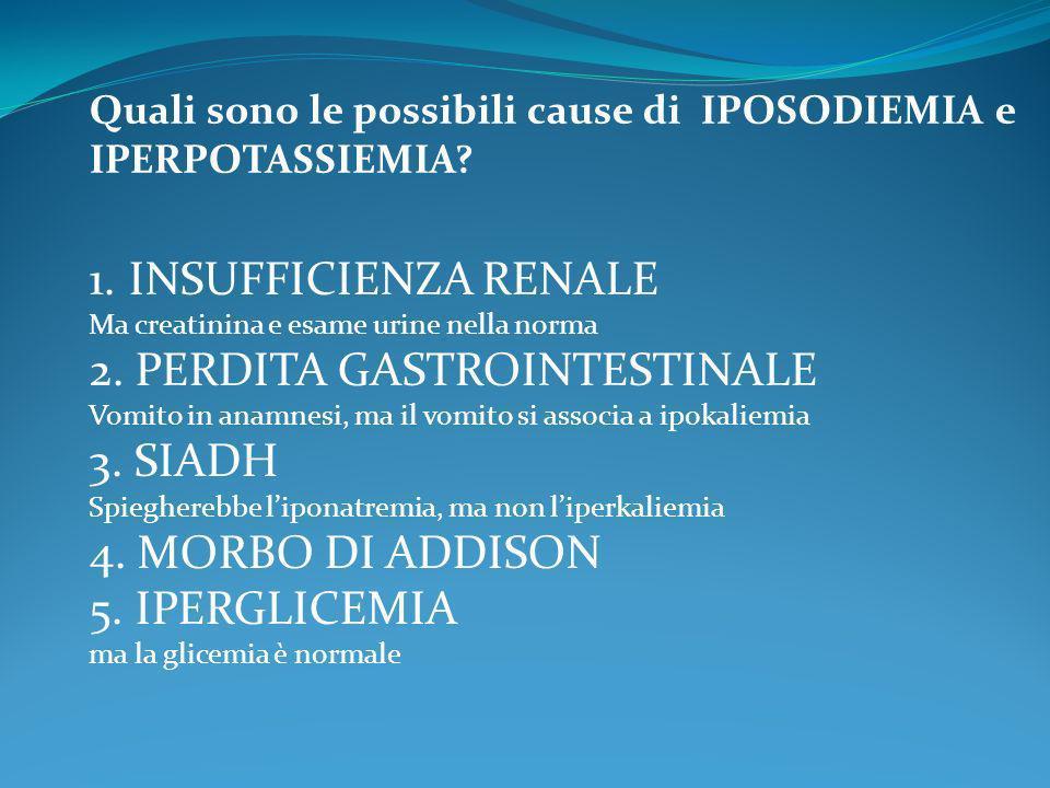 Quali sono le possibili cause di IPOSODIEMIA e IPERPOTASSIEMIA? 1.INSUFFICIENZA RENALE Ma creatinina e esame urine nella norma 2. PERDITA GASTROINTEST