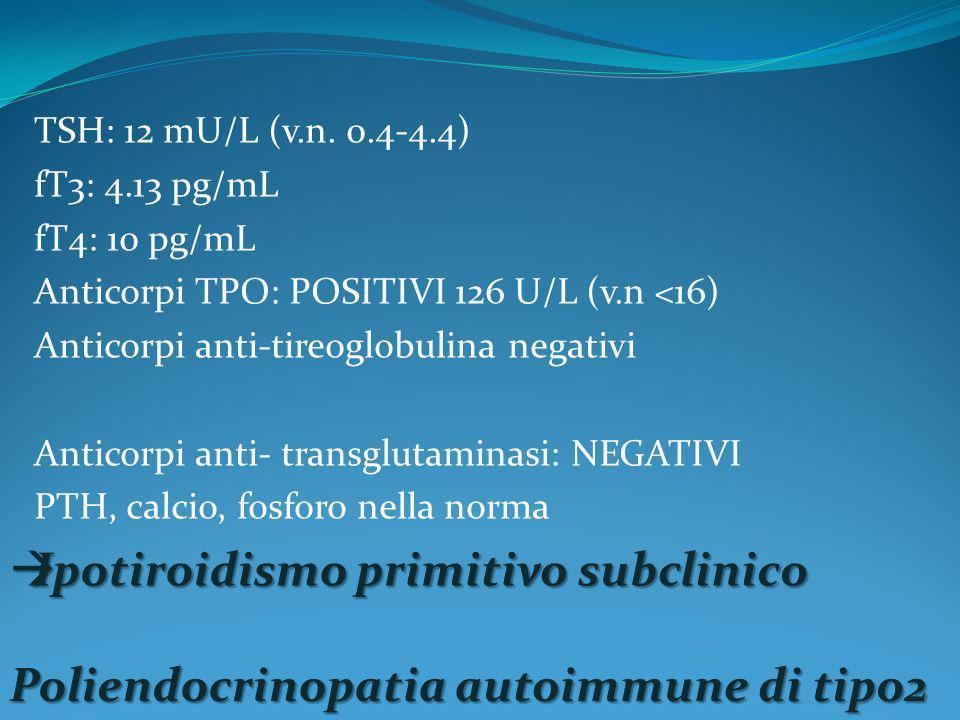 TSH: 12 mU/L (v.n. 0.4-4.4) fT3: 4.13 pg/mL fT4: 10 pg/mL Anticorpi TPO: POSITIVI 126 U/L (v.n <16) Anticorpi anti-tireoglobulina negativi Anticorpi a