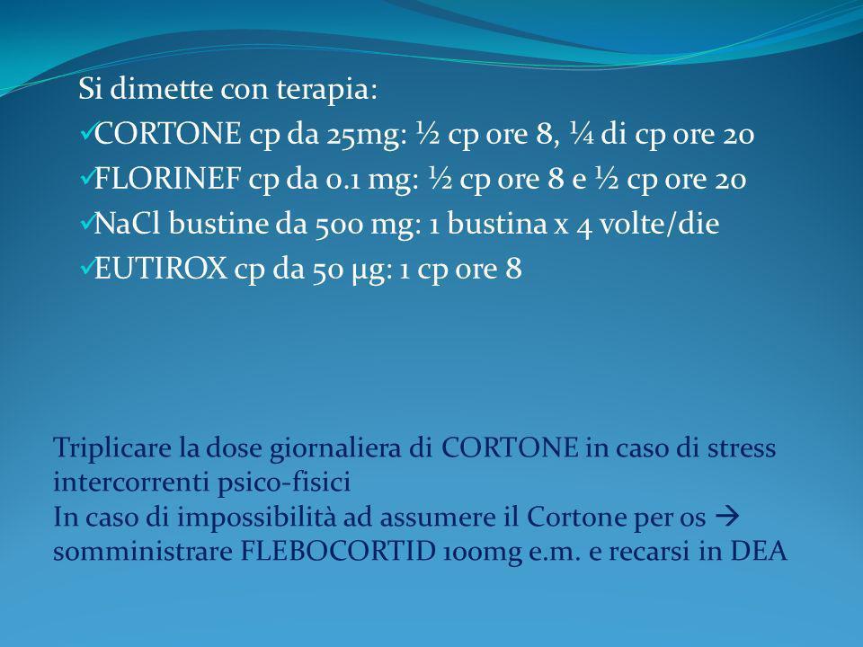 Si dimette con terapia: CORTONE cp da 25mg: ½ cp ore 8, ¼ di cp ore 20 FLORINEF cp da 0.1 mg: ½ cp ore 8 e ½ cp ore 20 NaCl bustine da 500 mg: 1 busti