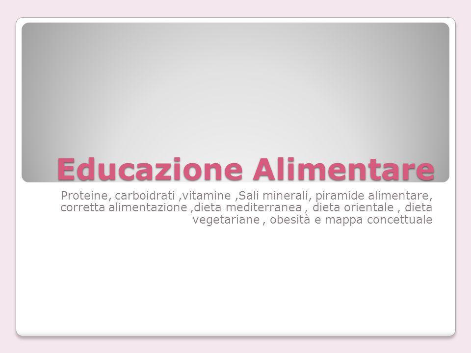 Educazione Alimentare Proteine, carboidrati,vitamine,Sali minerali, piramide alimentare, corretta alimentazione,dieta mediterranea, dieta orientale, d