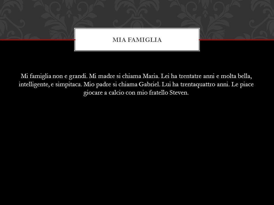 MIA FAMIGLIA Mi famiglia non e grandi. Mi madre si chiama Maria.