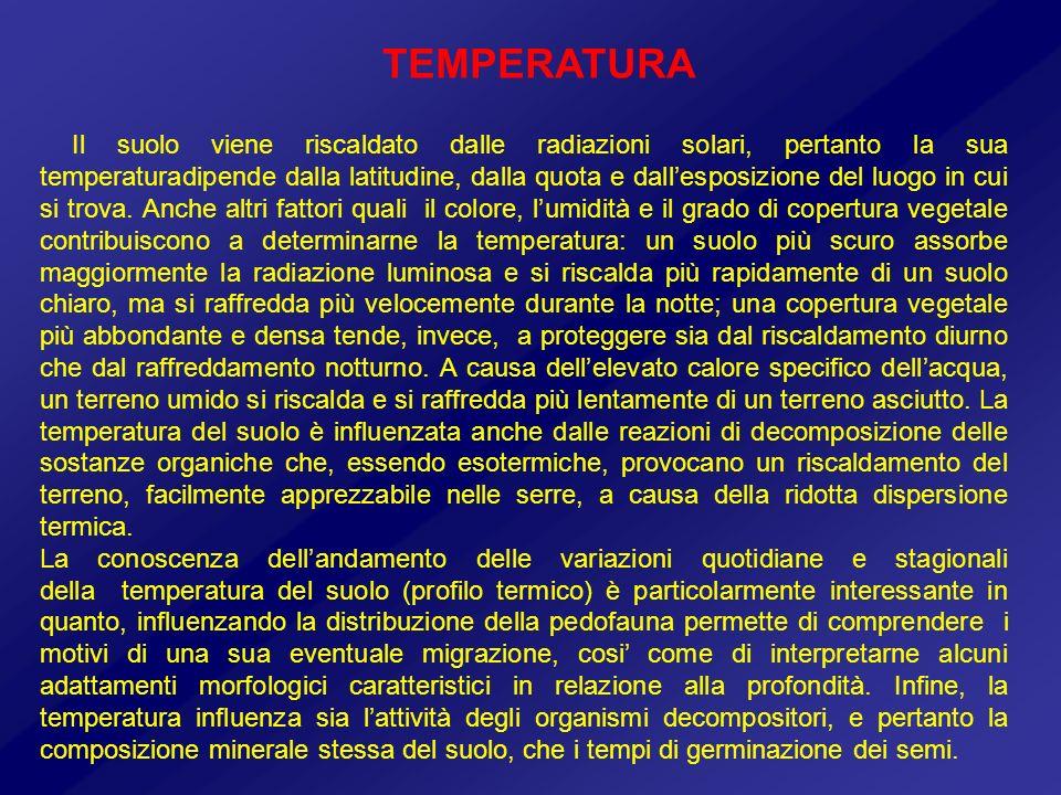 Il suolo viene riscaldato dalle radiazioni solari, pertanto la sua temperaturadipende dalla latitudine, dalla quota e dallesposizione del luogo in cui
