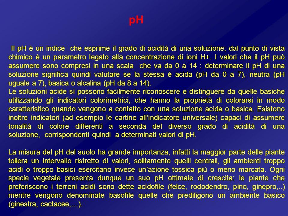 Il pH è un indice che esprime il grado di acidità di una soluzione; dal punto di vista chimico è un parametro legato alla concentrazione di ioni H+. I