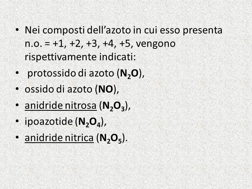 Nei composti dellazoto in cui esso presenta n.o. = +1, +2, +3, +4, +5, vengono rispettivamente indicati: protossido di azoto (N 2 O), ossido di azoto