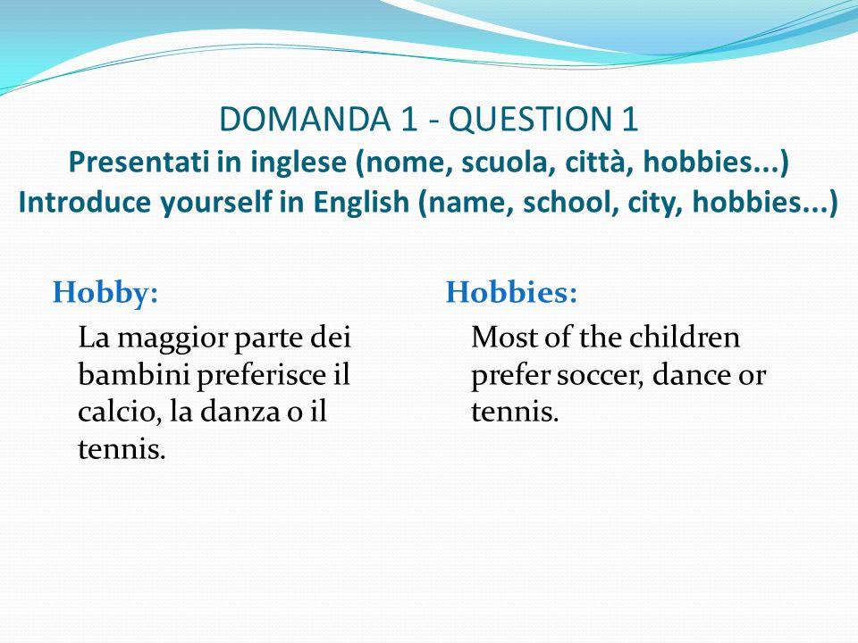 DOMANDA 2 - QUESTION 2 Qual è il titolo del nostro progetto europeo.