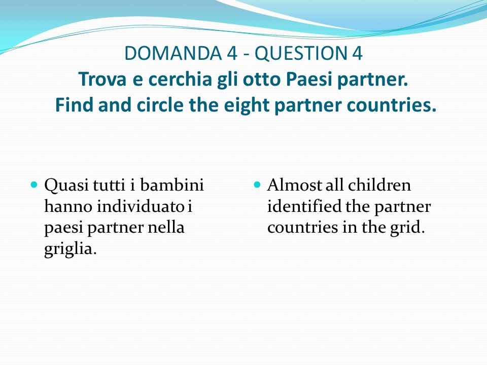 DOMANDA 4 - QUESTION 4 Trova e cerchia gli otto Paesi partner.
