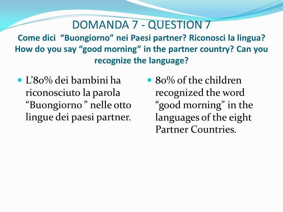 DOMANDA 7 - QUESTION 7 Come dici Buongiorno nei Paesi partner.