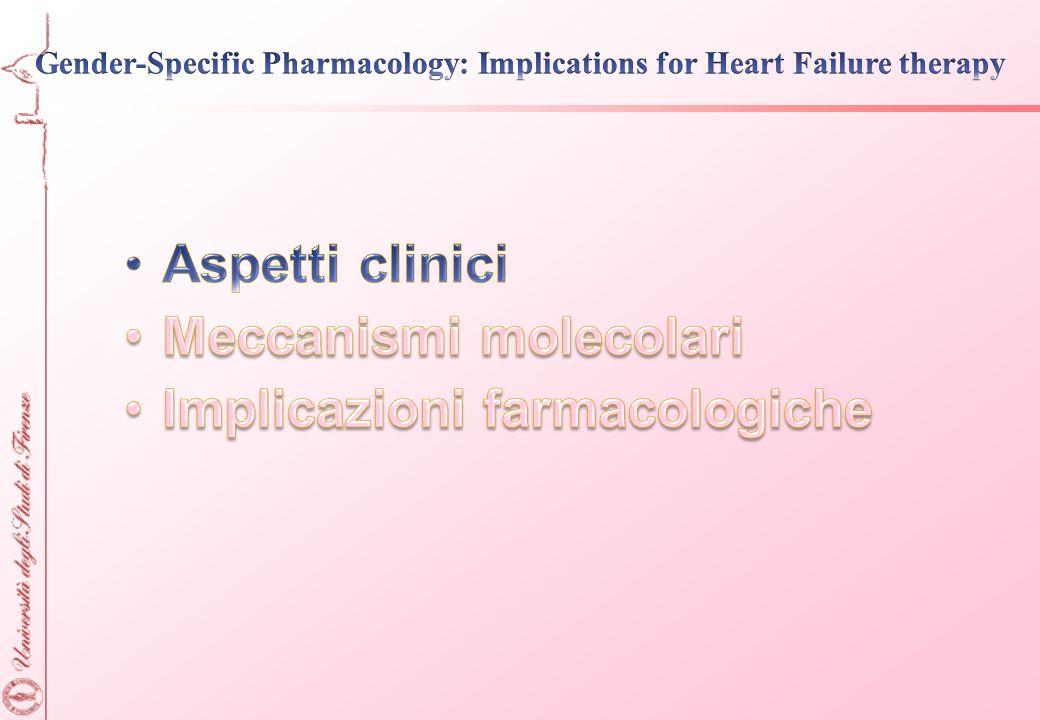 Sintomi e caratteristicheDifferenze F vs M Sintomi di infarto miocardico e anginaAngina tipica meno frequente nelle donne; + spesso nausea, vomito Sensibilità e specificità di ECG sotto sforzoMinore nelle donne Mortalità post-AMIMaggiore nelle donne Complicazioni (sanguinamento PCA, trombolisi) Maggiore nelle donne Complicanze post-CABGMaggiore nelle donne CardiomiopatieF<M (HCM); cardiopatia da stress (Tako-tsubo) più frequente nella donna Cardiopatia e/o coronaropatia diabeticaMaggior rischio nelle donne Ipertrofia ventricolare sinistraPiù tardiva ma con rischi maggiori nella donna Funzione ventricolare nella HFMinore disfunzione sistolica, maggiore diastolica nelle donne ECG e aritmieQT più lungo, maggiore incidenza di LQTS, TdP e tachicardia nelle donne Modificato da Regitz-Zagrosek V., Nature Rev Drug Discov 2006
