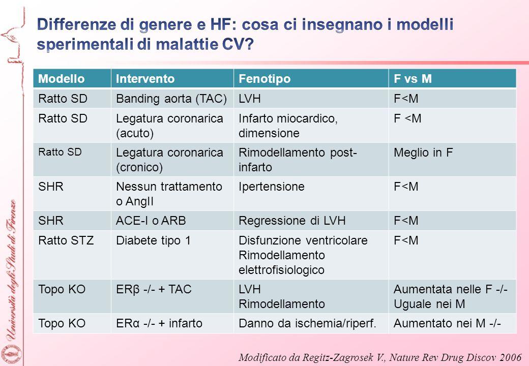 ModelloInterventoFenotipoF vs M Ratto SDBanding aorta (TAC)LVHF<M Ratto SDLegatura coronarica (acuto) Infarto miocardico, dimensione F <M Ratto SD Leg