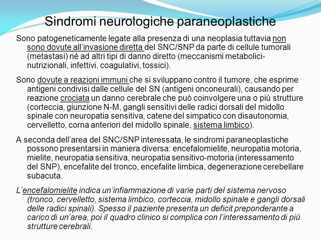 Sindromi neurologiche paraneoplastiche Sono patogeneticamente legate alla presenza di una neoplasia tuttavia non sono dovute allinvasione diretta del SNC/SNP da parte di cellule tumorali (metastasi) né ad altri tipi di danno diretto (meccanismi metabolici- nutrizionali, infettivi, coagulativi, tossici).