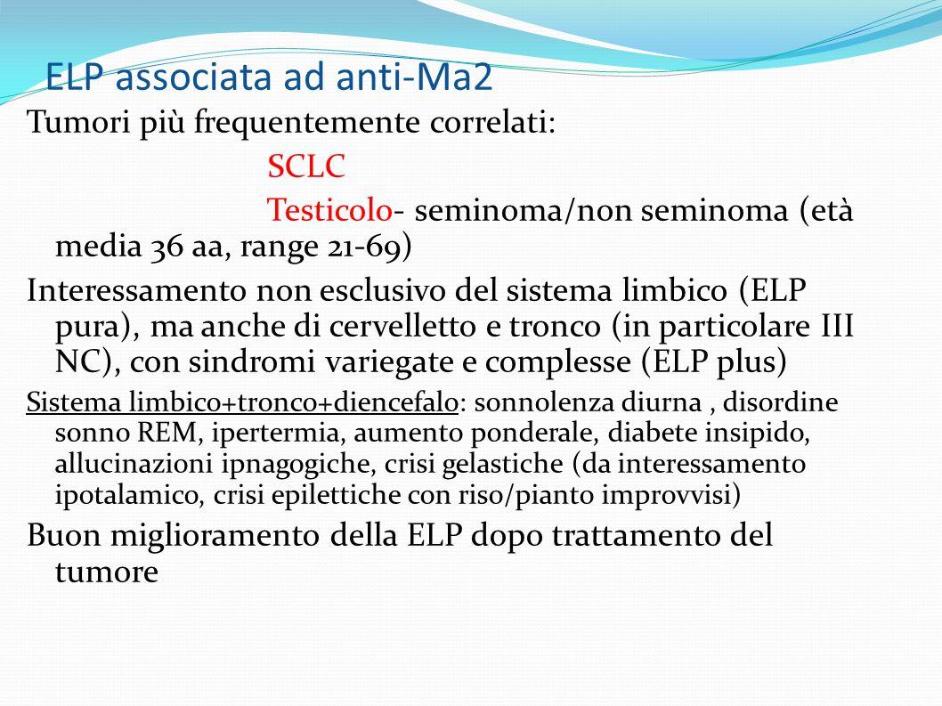 ELP associata ad anti-Ma2 Tumori più frequentemente correlati: SCLC Testicolo- seminoma/non seminoma (età media 36 aa, range 21-69) Interessamento non esclusivo del sistema limbico (ELP pura), ma anche di cervelletto e tronco (in particolare III NC), con sindromi variegate e complesse (ELP plus) Sistema limbico+tronco+diencefalo: sonnolenza diurna, disordine sonno REM, ipertermia, aumento ponderale, diabete insipido, allucinazioni ipnagogiche, crisi gelastiche (da interessamento ipotalamico, crisi epilettiche con riso/pianto improvvisi) Buon miglioramento della ELP dopo trattamento del tumore