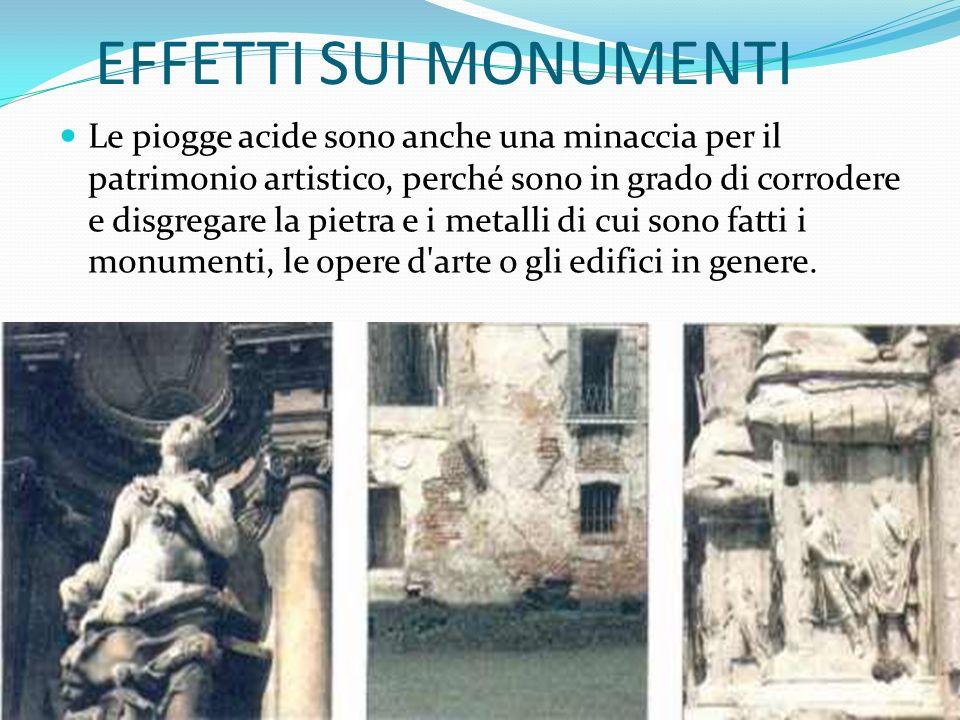 EFFETTI SUI MONUMENTI Le piogge acide sono anche una minaccia per il patrimonio artistico, perché sono in grado di corrodere e disgregare la pietra e i metalli di cui sono fatti i monumenti, le opere d arte o gli edifici in genere.