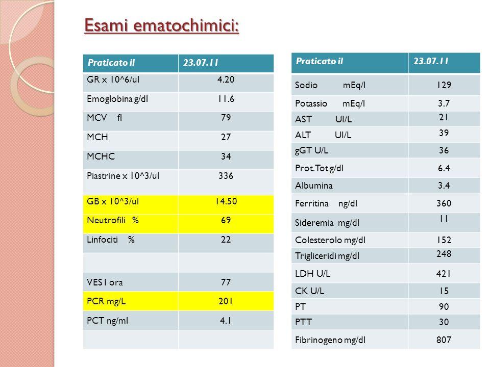 Praticato il27.11 GR x 10^6/ul3.86 Emoglobina g/dl10,4 MCV fl80 MCH26 MCHC33 GB x 10^3/ul12.0 Neutrofili %67 Linfociti %29 Piastrine x 10^3/ul636 Esame urineNella norma Complemento, C3,C4 Nella norma IgA, IgM, IgG Nella norma ANANegativo Fattore reumatoide Nella norma Praticato il27.11 Glicemia mg/dl 86 Urea mg/dl 12 Creatininemia mg/dl 0,37 Sodio mEq/l 134 Potassio mEq/l 4,5 AST UI/L 30 ALT UI/L 17 Calcio mg/dl 9.6 Prot.