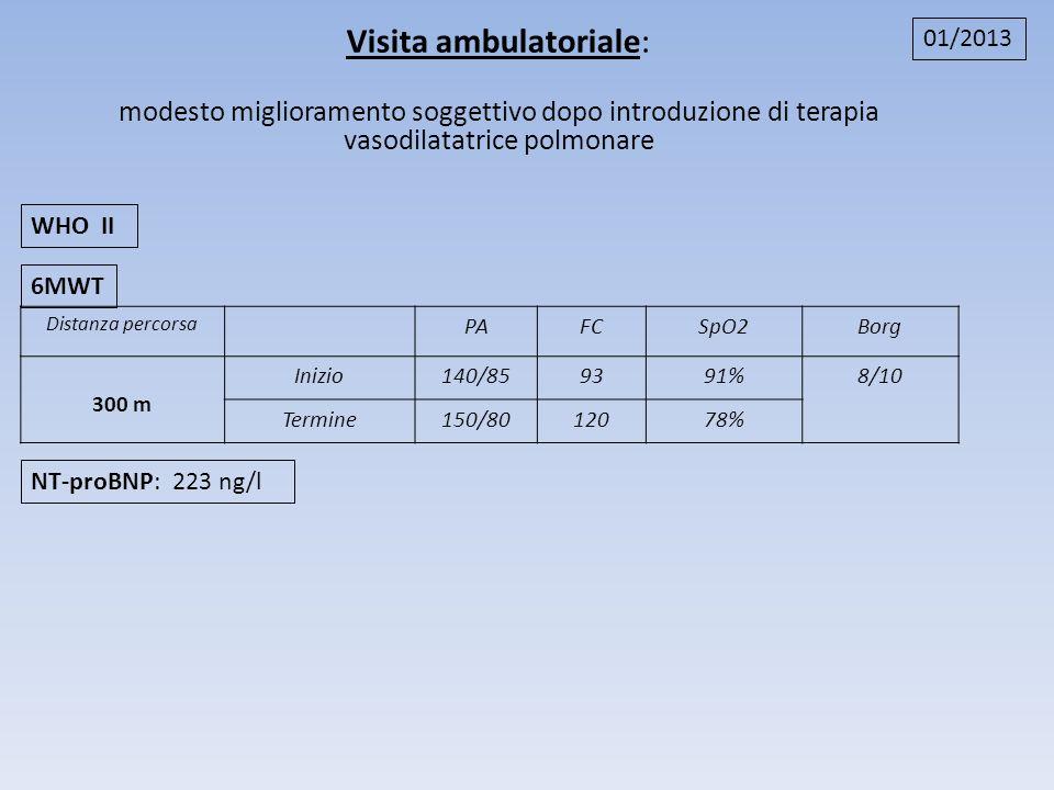 Distanza percorsa PAFCSpO2Borg 300 m Inizio140/859391%8/10 Termine150/8012078% 6MWT NT-proBNP: 223 ng/l WHO II 01/2013 Visita ambulatoriale: modesto m