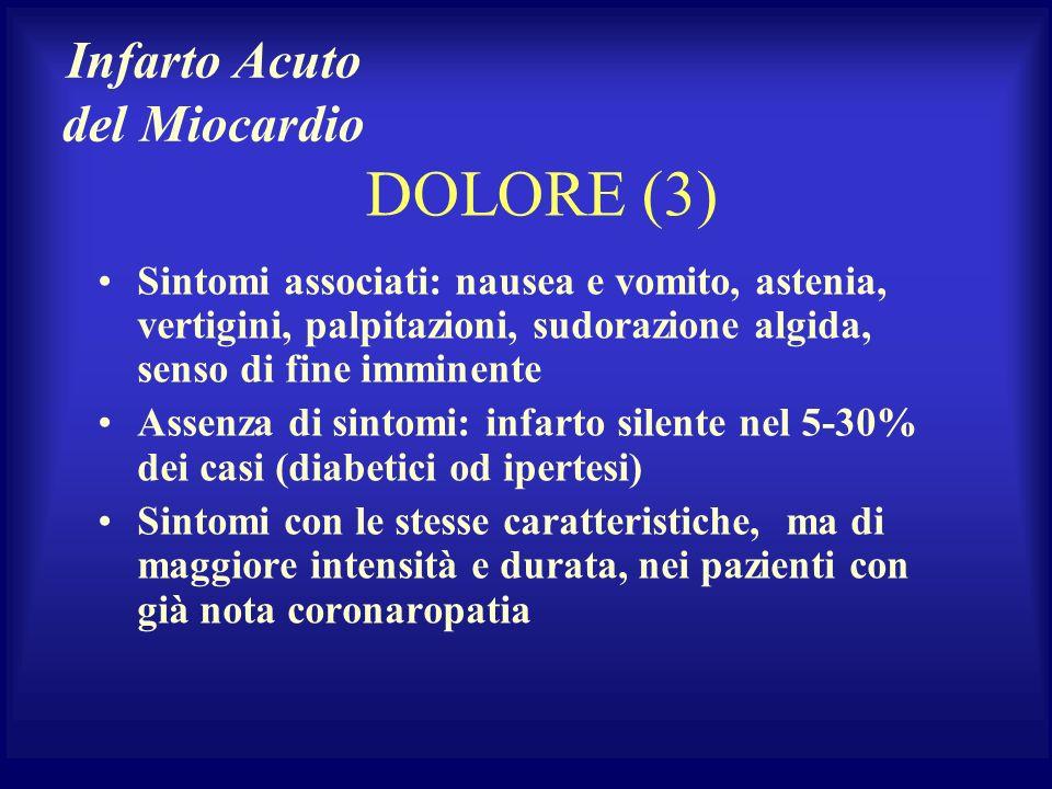 DOLORE (3) Sintomi associati: nausea e vomito, astenia, vertigini, palpitazioni, sudorazione algida, senso di fine imminente Assenza di sintomi: infar