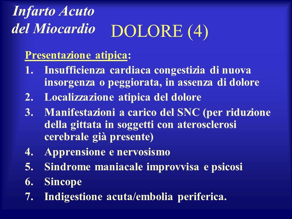 DOLORE (4) Presentazione atipica: 1.Insufficienza cardiaca congestizia di nuova insorgenza o peggiorata, in assenza di dolore 2.Localizzazione atipica