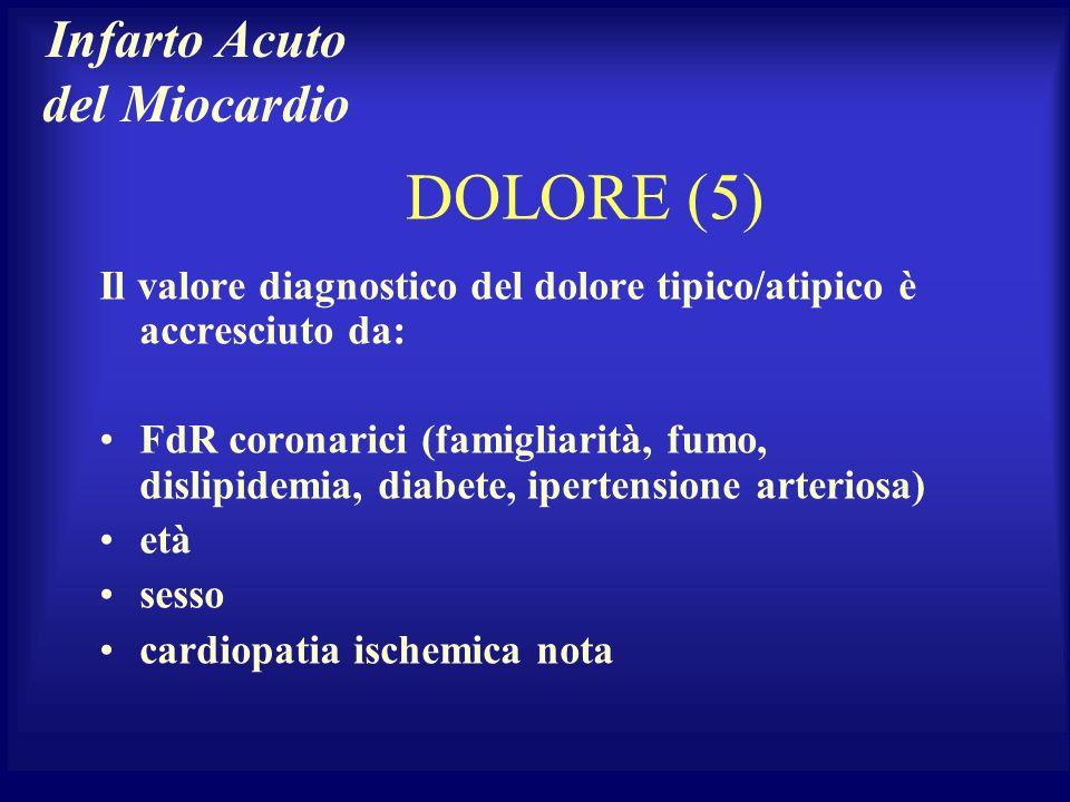 DOLORE (5) Il valore diagnostico del dolore tipico/atipico è accresciuto da: FdR coronarici (famigliarità, fumo, dislipidemia, diabete, ipertensione a