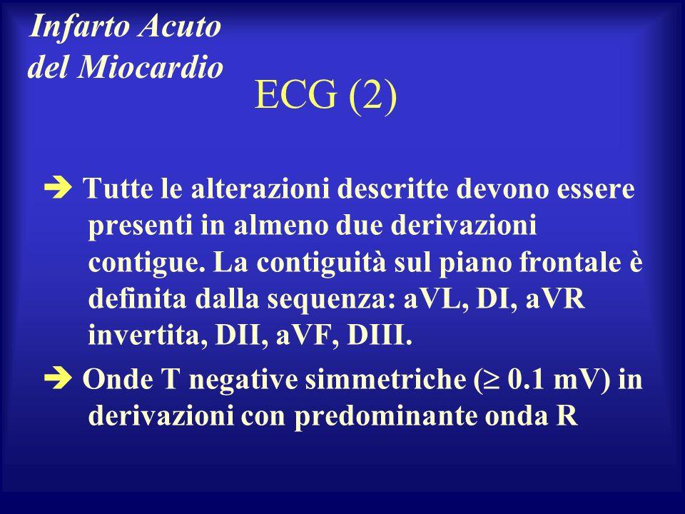 ECG (2) Tutte le alterazioni descritte devono essere presenti in almeno due derivazioni contigue. La contiguità sul piano frontale è definita dalla se