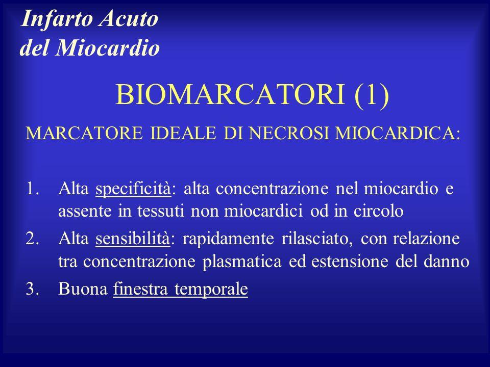 BIOMARCATORI (1) MARCATORE IDEALE DI NECROSI MIOCARDICA: 1.Alta specificità: alta concentrazione nel miocardio e assente in tessuti non miocardici od