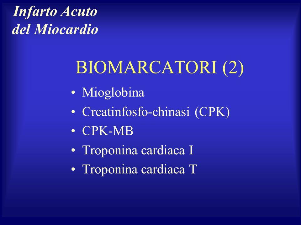 Mioglobina Creatinfosfo-chinasi (CPK) CPK-MB Troponina cardiaca I Troponina cardiaca T BIOMARCATORI (2) Infarto Acuto del Miocardio