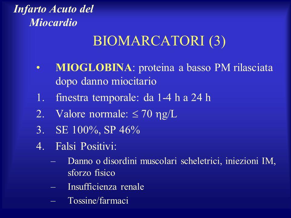 BIOMARCATORI (3) MIOGLOBINA: proteina a basso PM rilasciata dopo danno miocitario 1.finestra temporale: da 1-4 h a 24 h 2.Valore normale: 70 g/L 3.SE