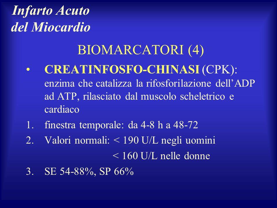 BIOMARCATORI (4) CREATINFOSFO-CHINASI (CPK): enzima che catalizza la rifosforilazione dellADP ad ATP, rilasciato dal muscolo scheletrico e cardiaco 1.