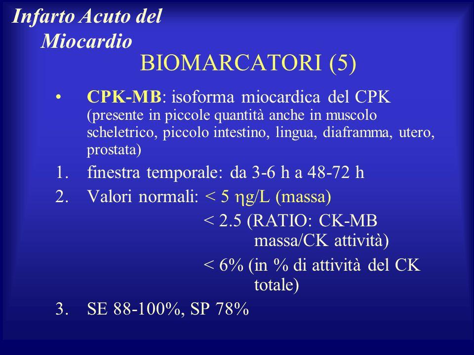 BIOMARCATORI (5) CPK-MB: isoforma miocardica del CPK (presente in piccole quantità anche in muscolo scheletrico, piccolo intestino, lingua, diaframma,
