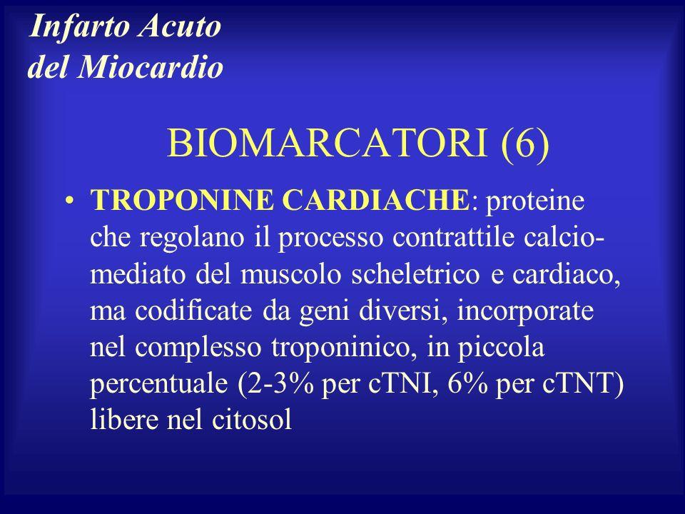 BIOMARCATORI (6) TROPONINE CARDIACHE: proteine che regolano il processo contrattile calcio- mediato del muscolo scheletrico e cardiaco, ma codificate