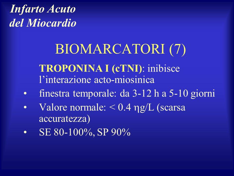 BIOMARCATORI (7) TROPONINA I (cTNI): inibisce linterazione acto-miosinica finestra temporale: da 3-12 h a 5-10 giorni Valore normale: < 0.4 g/L (scars