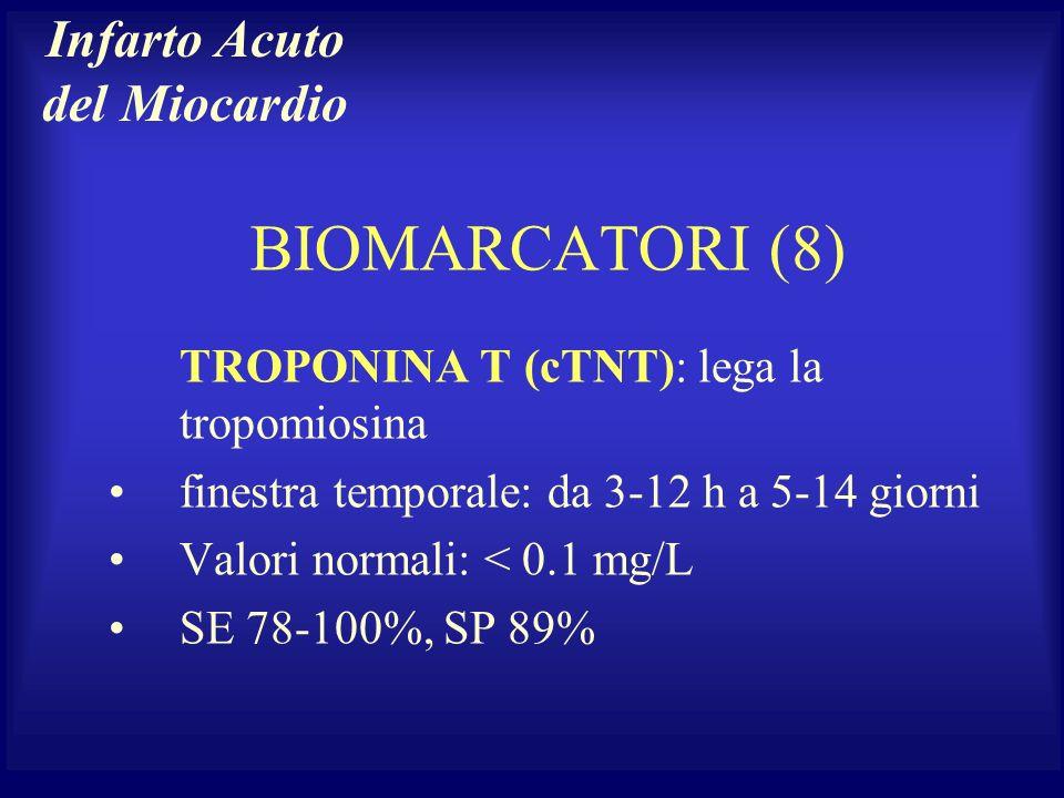 BIOMARCATORI (8) TROPONINA T (cTNT): lega la tropomiosina finestra temporale: da 3-12 h a 5-14 giorni Valori normali: < 0.1 mg/L SE 78-100%, SP 89% In