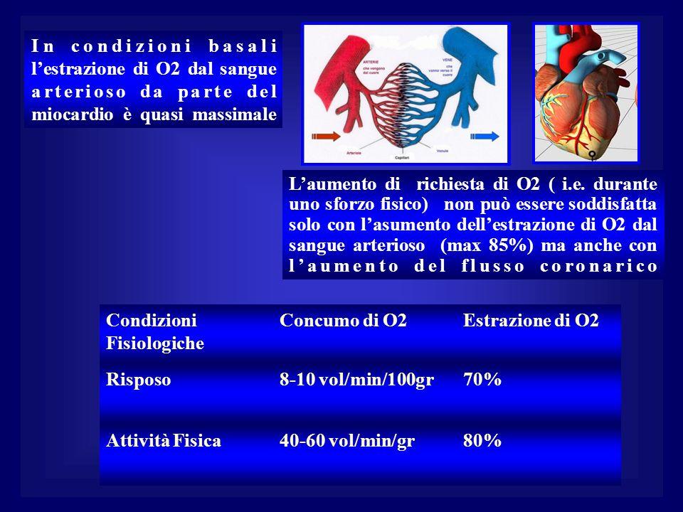 In condizioni basali lestrazione di O2 dal sangue arterioso da parte del miocardio è quasi massimale Laumento di richiesta di O2 ( i.e. durante uno sf