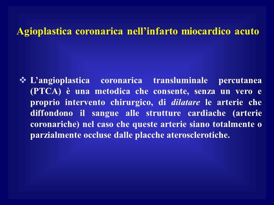 Agioplastica coronarica nellinfarto miocardico acuto Langioplastica coronarica transluminale percutanea (PTCA) è una metodica che consente, senza un v