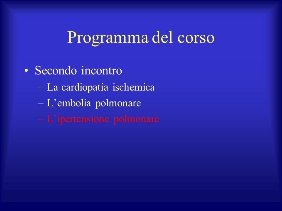 Programma del corso Secondo incontro –La cardiopatia ischemica –Lembolia polmonare –Lipertensione polmonare