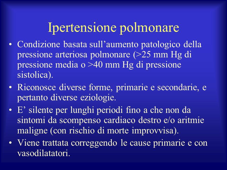 Ipertensione polmonare Condizione basata sullaumento patologico della pressione arteriosa polmonare (>25 mm Hg di pressione media o >40 mm Hg di press