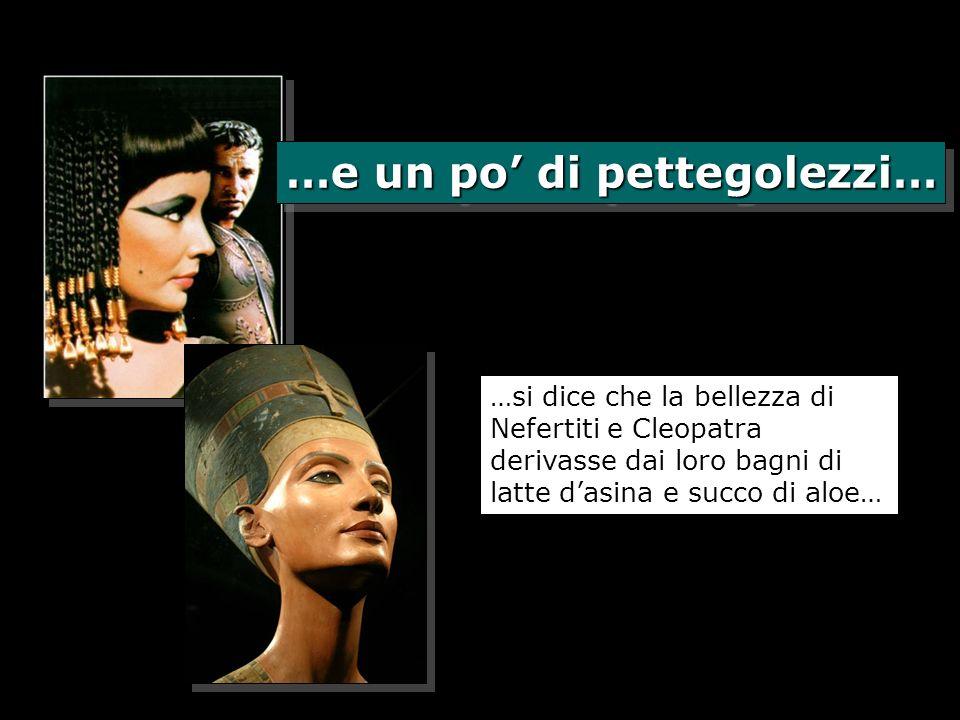 …e un po di pettegolezzi… …si dice che la bellezza di Nefertiti e Cleopatra derivasse dai loro bagni di latte dasina e succo di aloe…