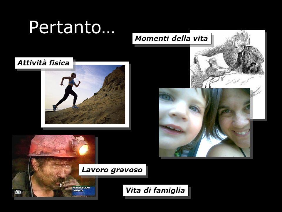 Pertanto… Momenti della vita Attività fisica Lavoro gravoso Vita di famiglia