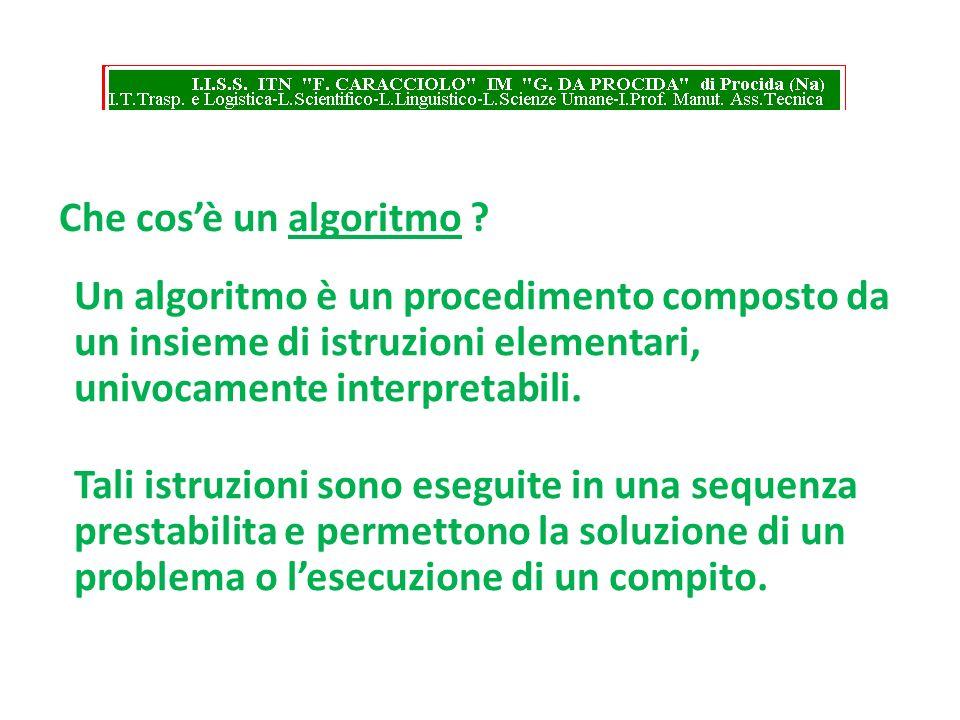 Che cosè un algoritmo ? Un algoritmo è un procedimento composto da un insieme di istruzioni elementari, univocamente interpretabili. Tali istruzioni s