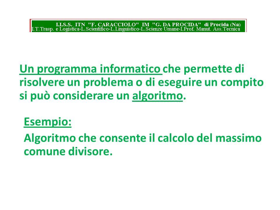 Un programma informatico che permette di risolvere un problema o di eseguire un compito si può considerare un algoritmo. Esempio: Algoritmo che consen