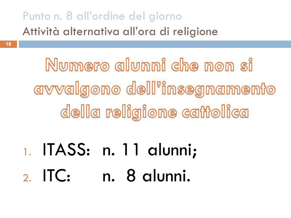 Punto n. 8 allordine del giorno Attività alternativa allora di religione 18