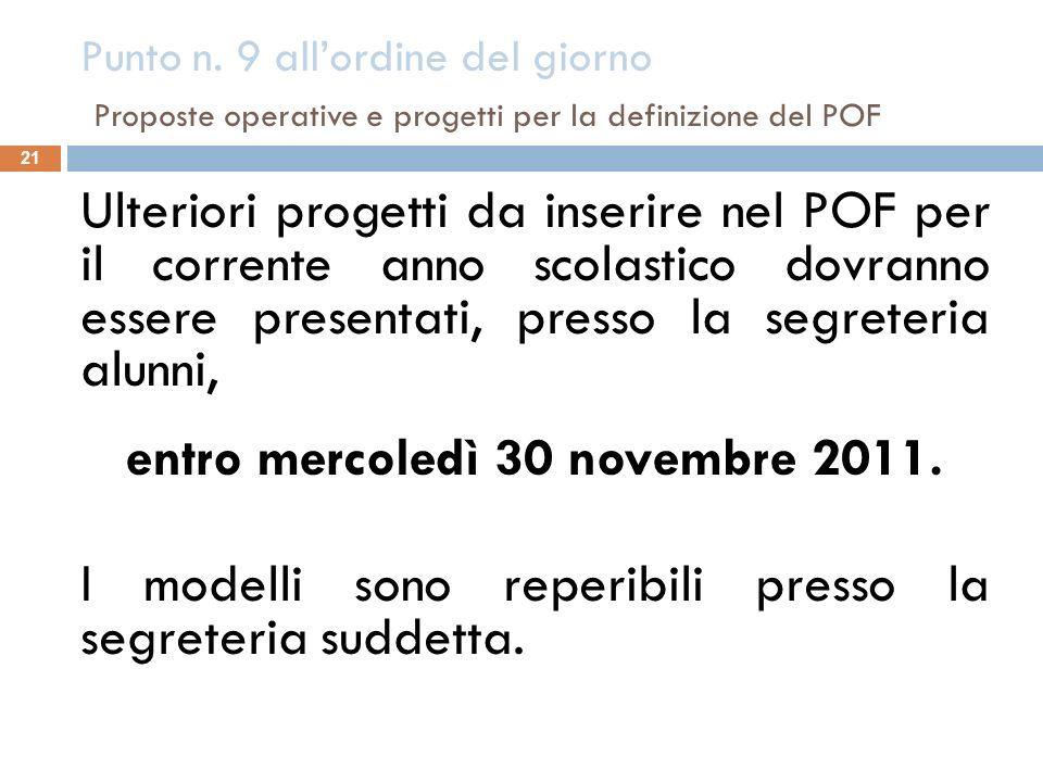 Punto n. 9 allordine del giorno Proposte operative e progetti per la definizione del POF 21 Ulteriori progetti da inserire nel POF per il corrente ann