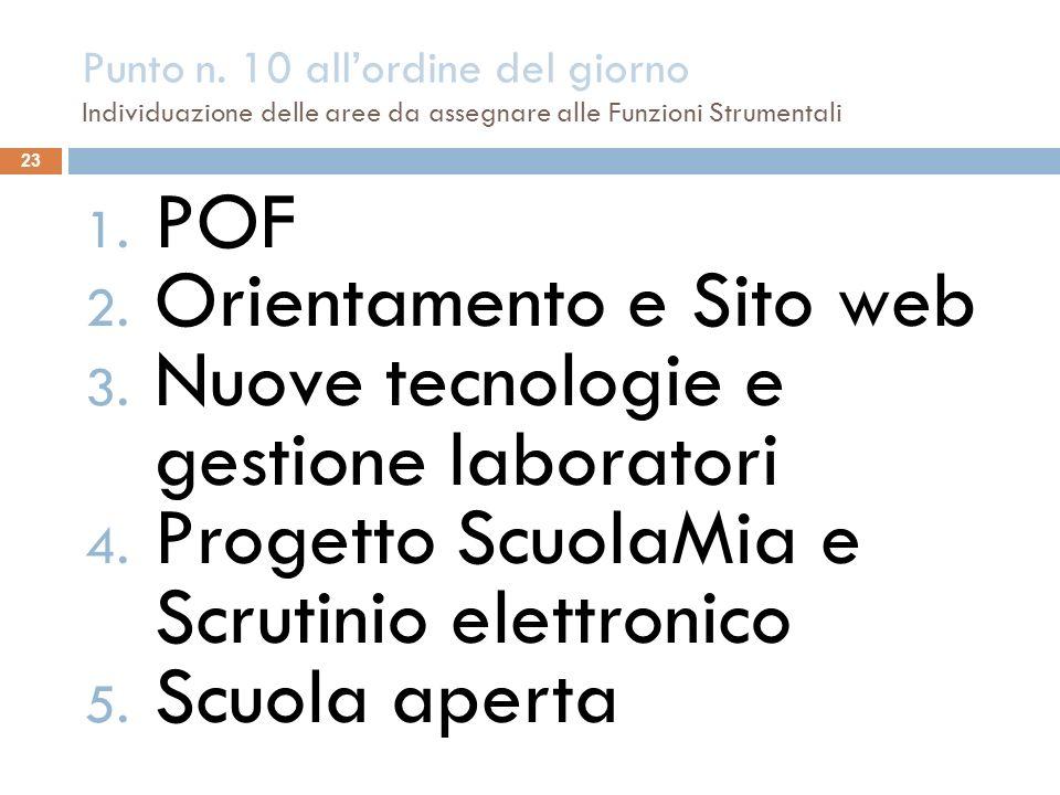 Punto n. 10 allordine del giorno Individuazione delle aree da assegnare alle Funzioni Strumentali 23 1. POF 2. Orientamento e Sito web 3. Nuove tecnol