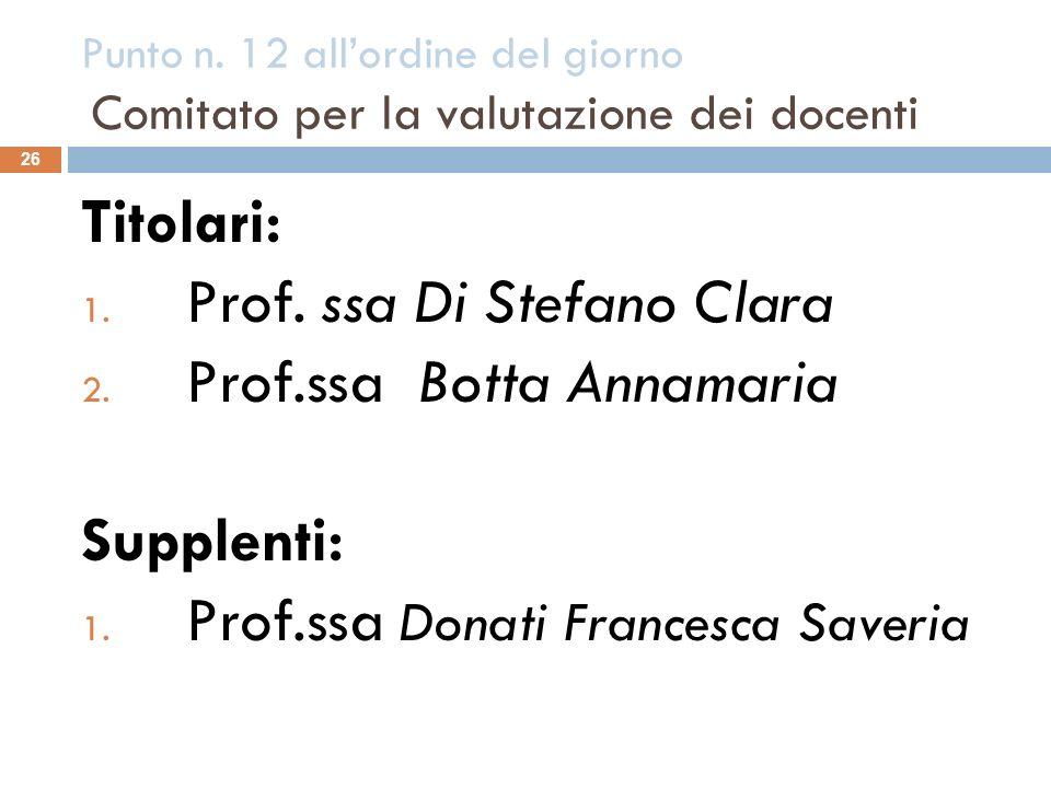 Punto n. 12 allordine del giorno Comitato per la valutazione dei docenti 26 Titolari: 1. Prof. ssa Di Stefano Clara 2. Prof.ssa Botta Annamaria Supple