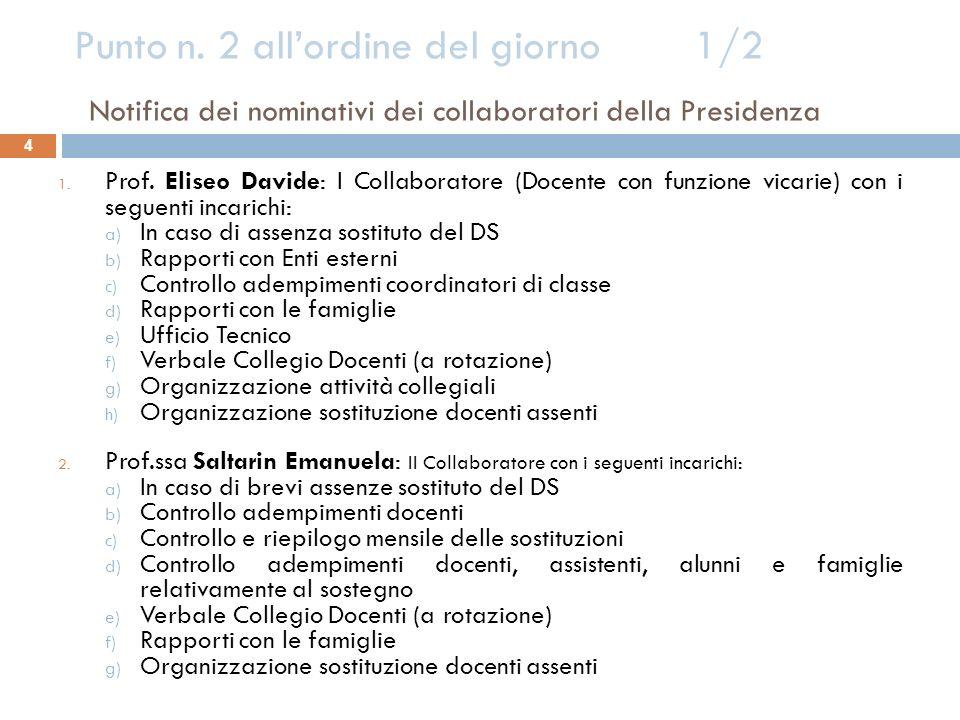 Punto n. 2 allordine del giorno 1/2 Notifica dei nominativi dei collaboratori della Presidenza 4 1. Prof. Eliseo Davide: I Collaboratore (Docente con