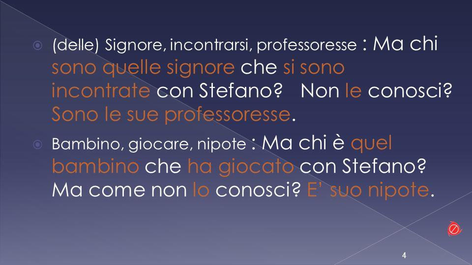 (delle) Signore, incontrarsi, professoresse : Ma chi sono quelle signore che si sono incontrate con Stefano? Non le conosci? Sono le sue professoresse
