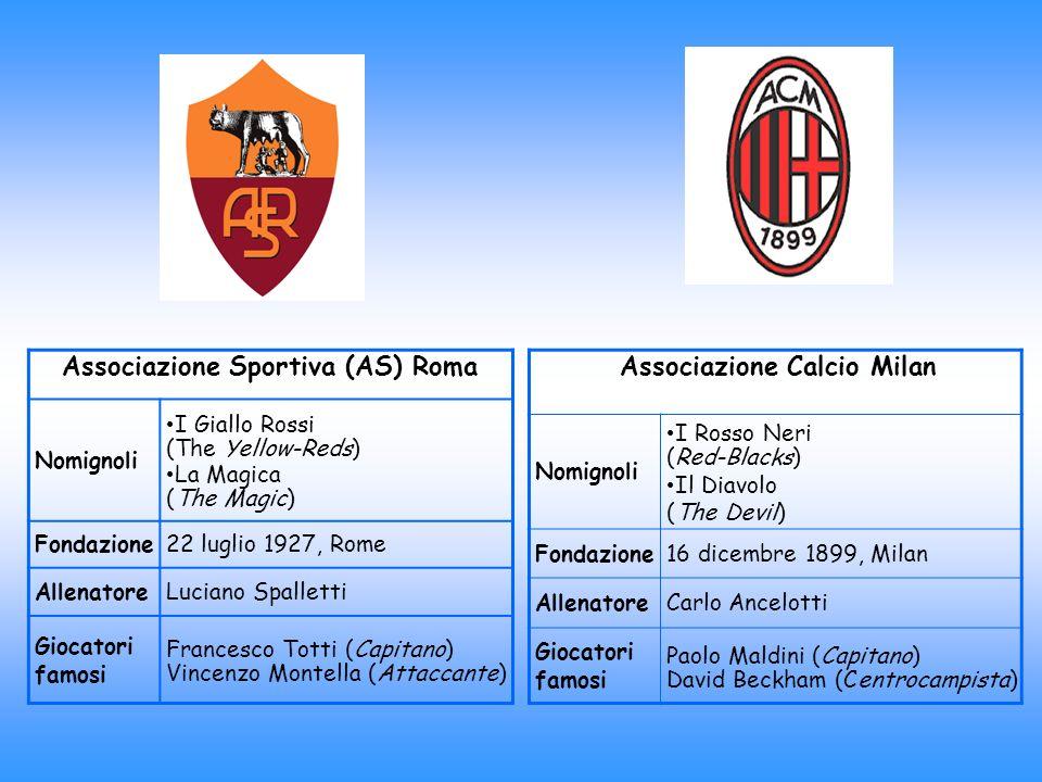 Associazione Sportiva (AS) Roma Nomignoli I Giallo Rossi (The Yellow-Reds) La Magica (The Magic) Fondazione22 luglio 1927, Rome AllenatoreLuciano Spal