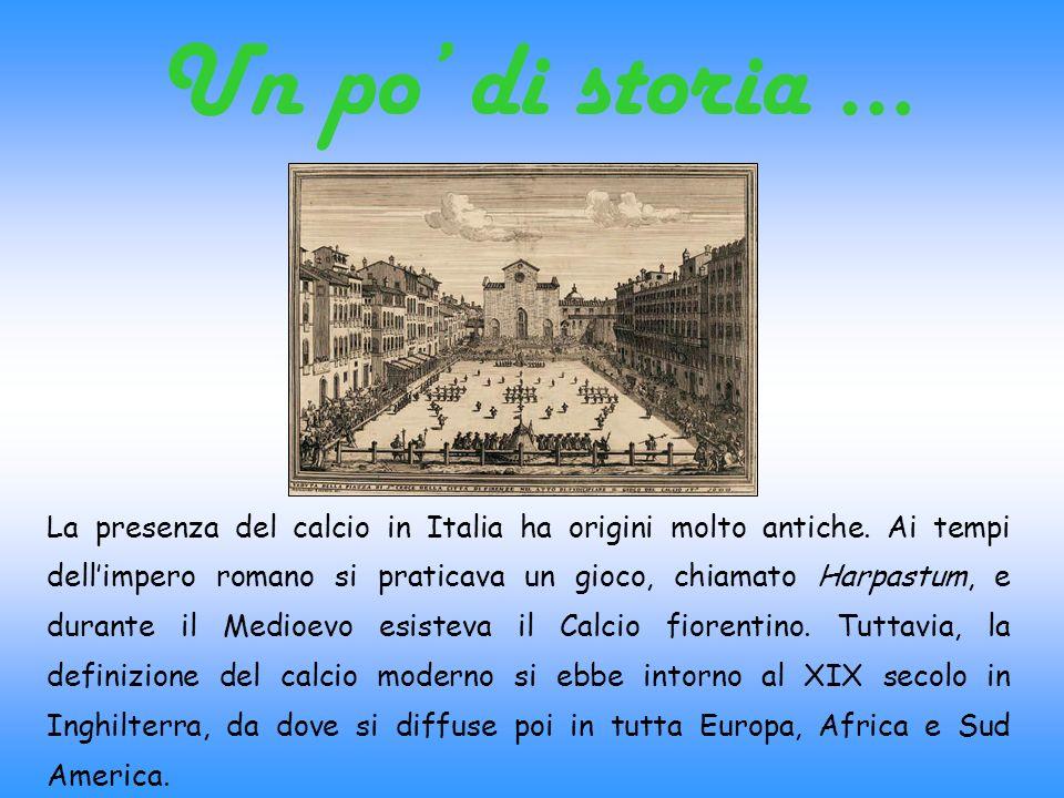 Un po di storia … La presenza del calcio in Italia ha origini molto antiche. Ai tempi dellimpero romano si praticava un gioco, chiamato Harpastum, e d