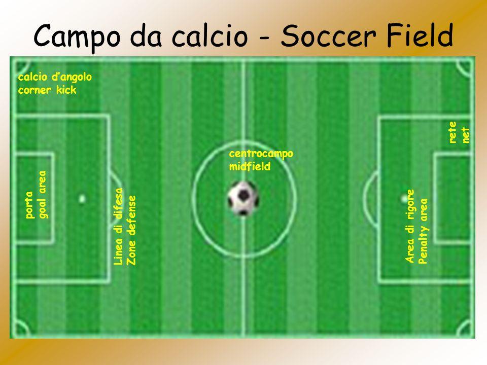 Campo da calcio - Soccer Field centrocampo midfield Area di rigore Penalty area calcio dangolo corner kick rete net Linea di difesa Zone defense porta