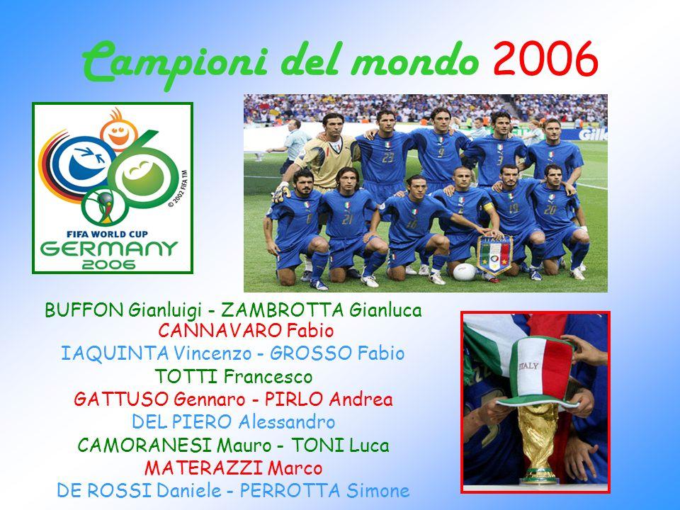 Campioni del mondo 2006 BUFFON Gianluigi - ZAMBROTTA Gianluca CANNAVARO Fabio IAQUINTA Vincenzo - GROSSO Fabio TOTTI Francesco GATTUSO Gennaro - PIRLO