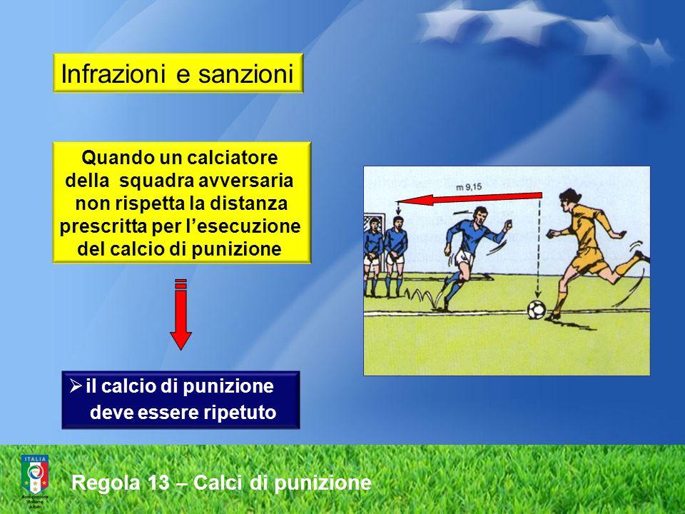 Regola 13 – Calci di punizione il calcio di punizione deve essere ripetuto Quando un calciatore della squadra avversaria non rispetta la distanza prescritta per lesecuzione del calcio di punizione Infrazioni e sanzioni
